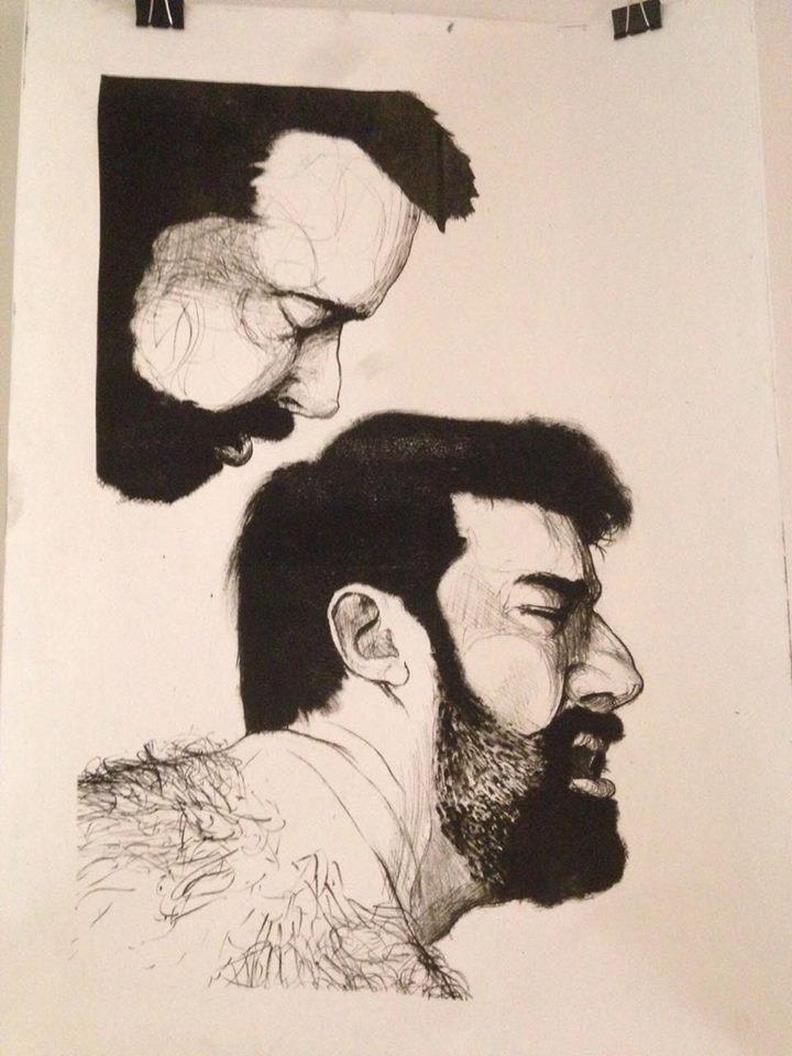 Manuel Fuentes Rodríguez, Los amantes, Grabado en plancha de aluminio 50 x 70.